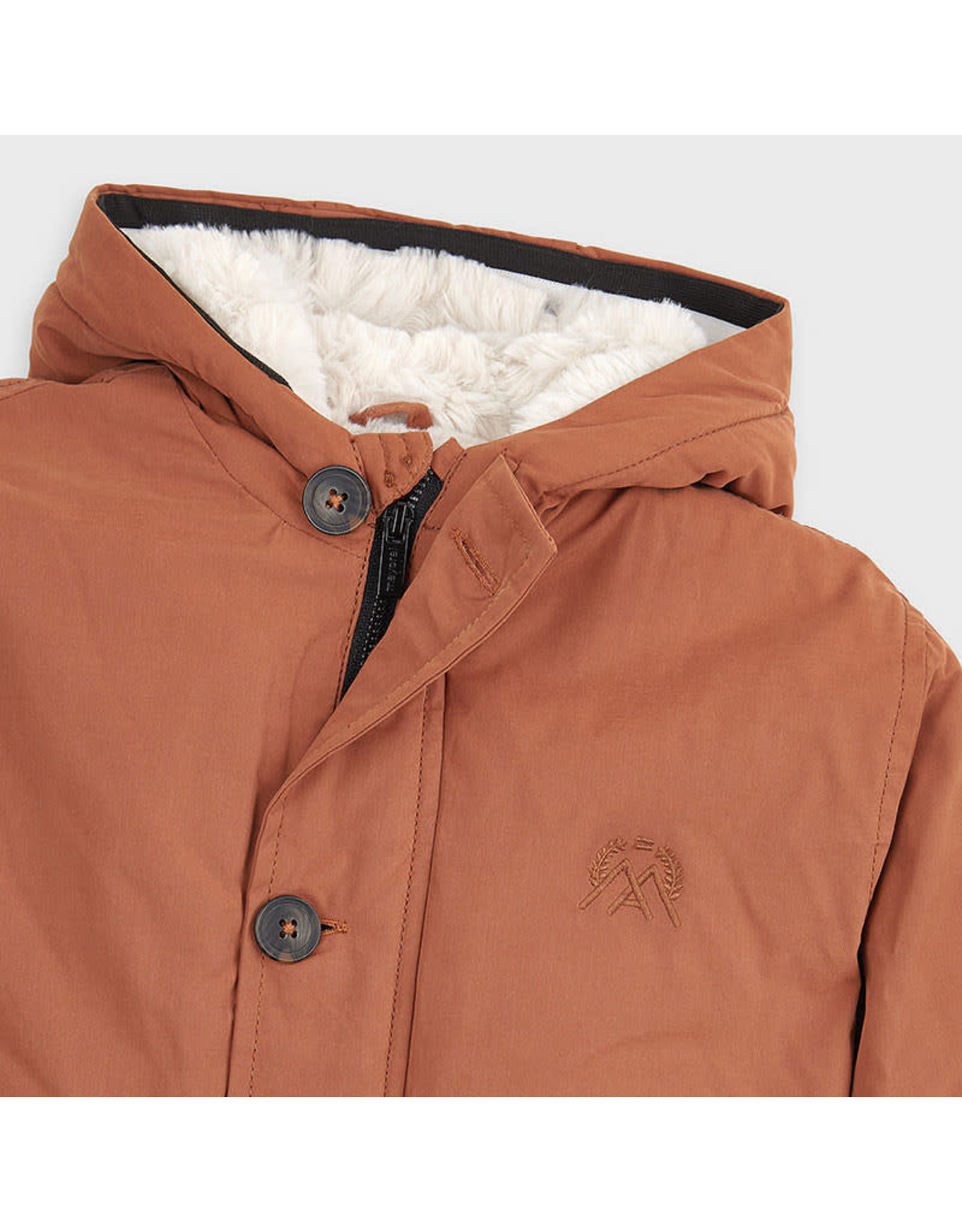Mayoral Rust Faux Fur Parka Coat