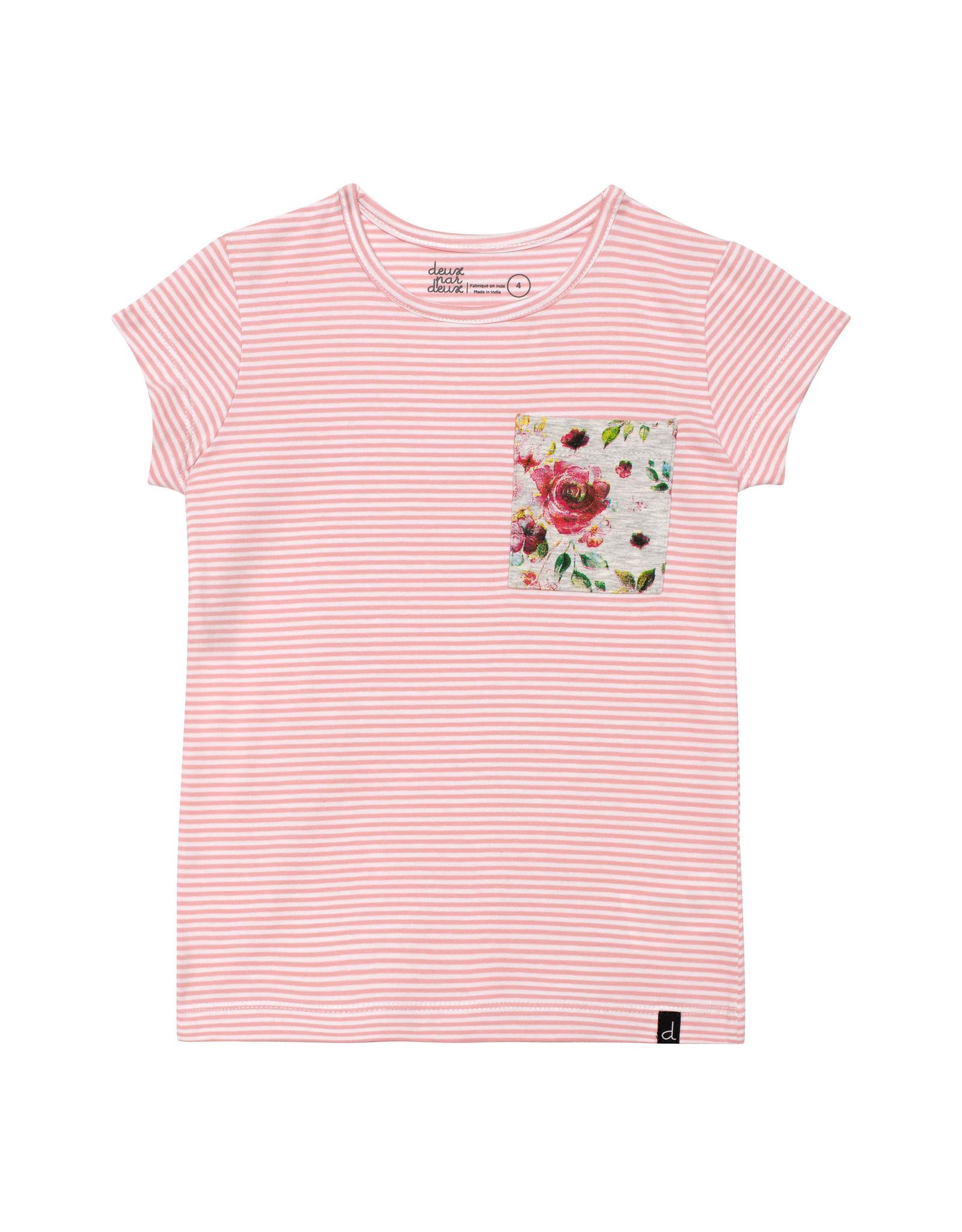 Deux Par Deux Striped Light Pink Top with Pocket