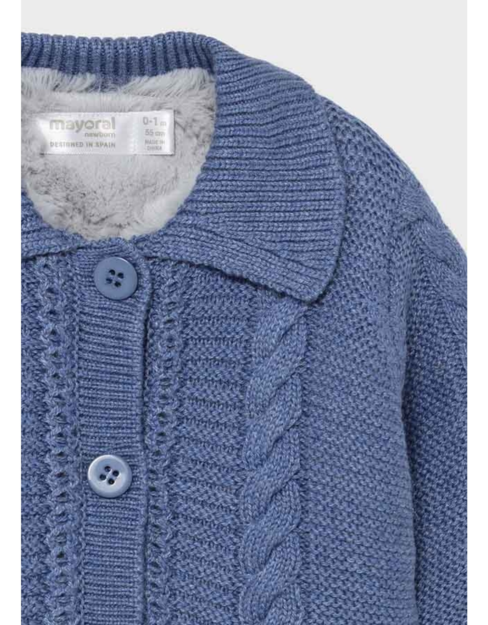 Mayoral Knit Cardigan w/Fur Lining
