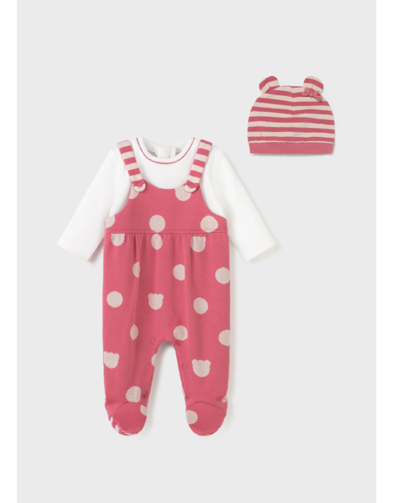 Mayoral Cranberry Polka Dot Onesie with Hat