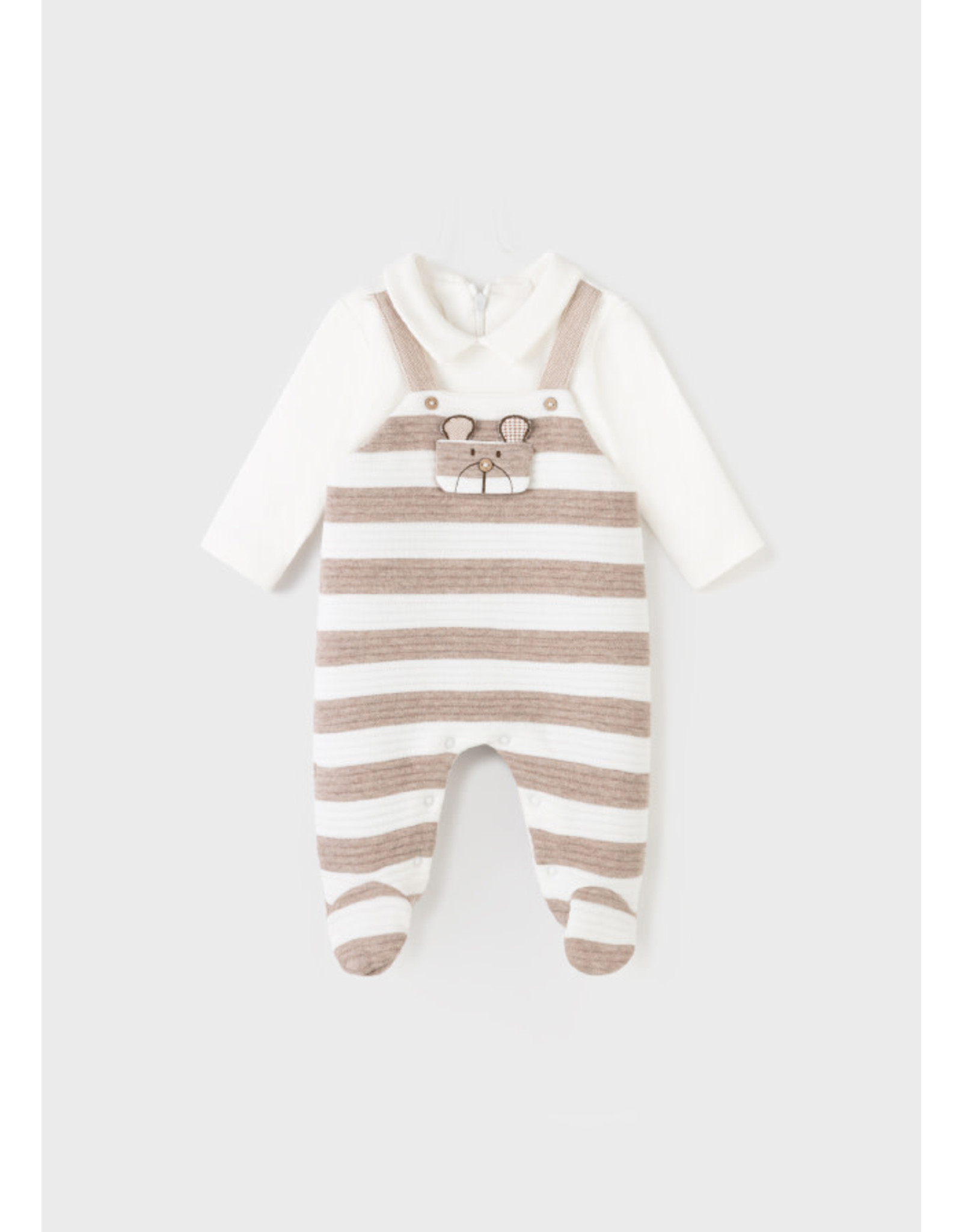 Mayoral Striped Overall Footed Onesie