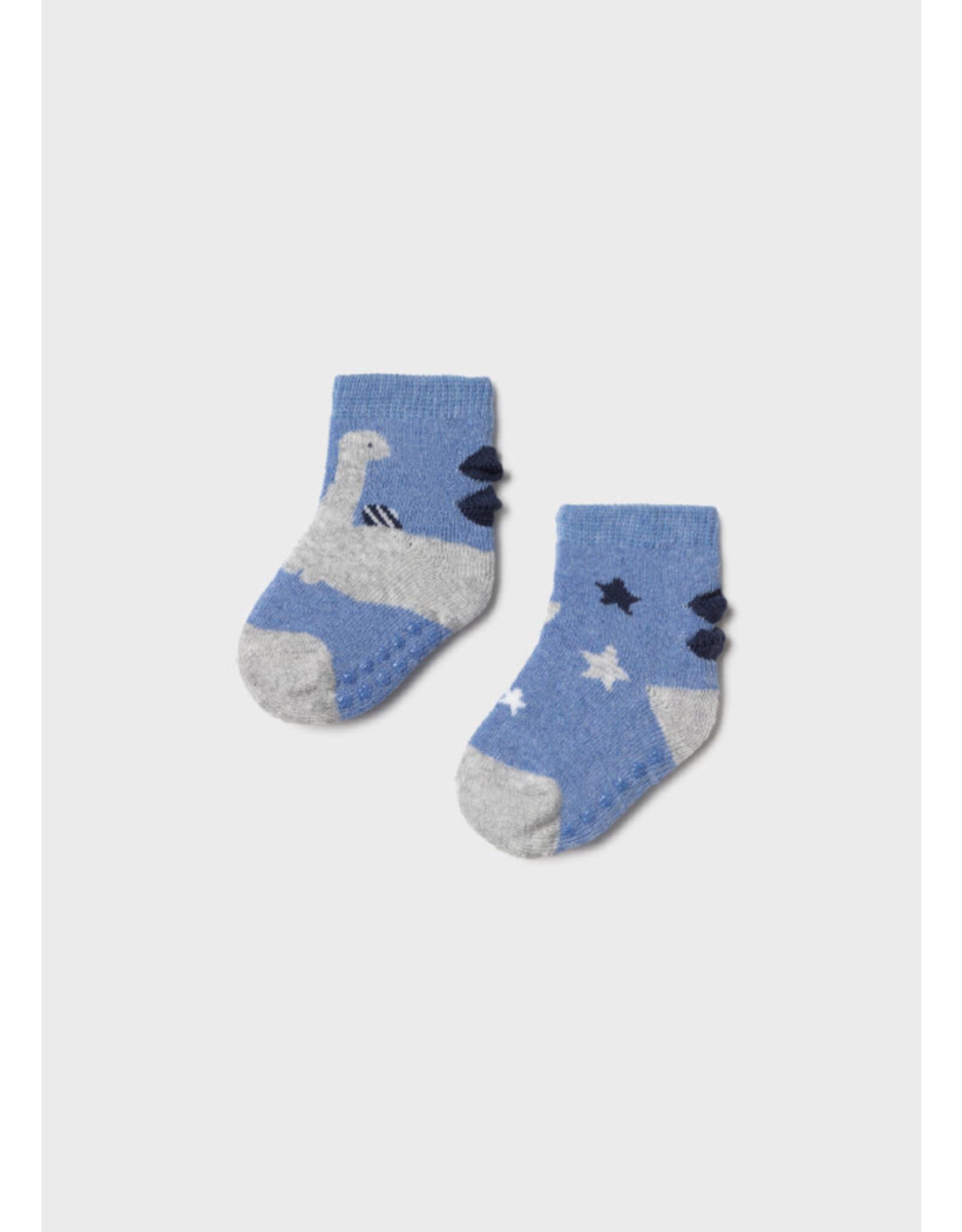 Mayoral Non-slip Socks - Dino Blue (0-18M)