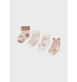 Mayoral 4pc Socks Set - Terracotta Kittens (0-18M)