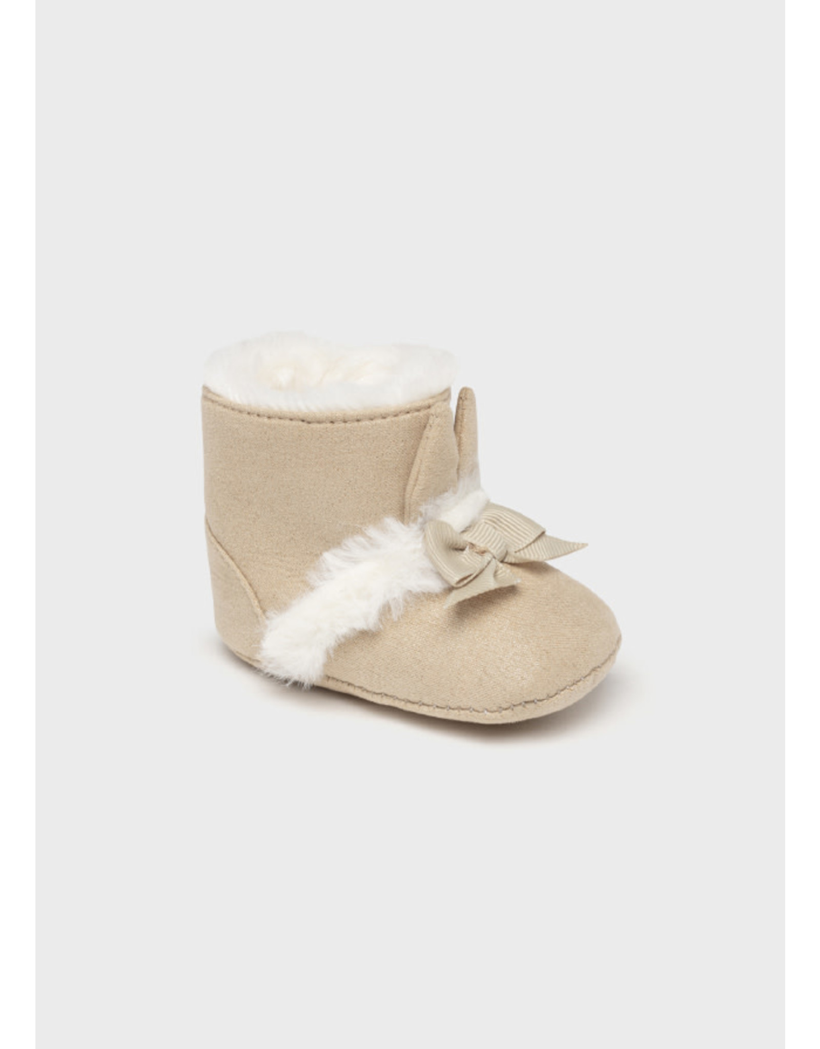 Mayoral Beige Faux Fur Boots w/Bow