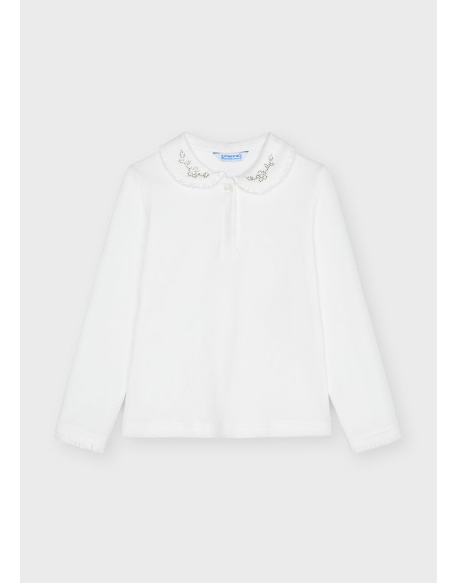 Mayoral Girls Long Sleeve Polo w/Ruffle Collar - 1 Buttons