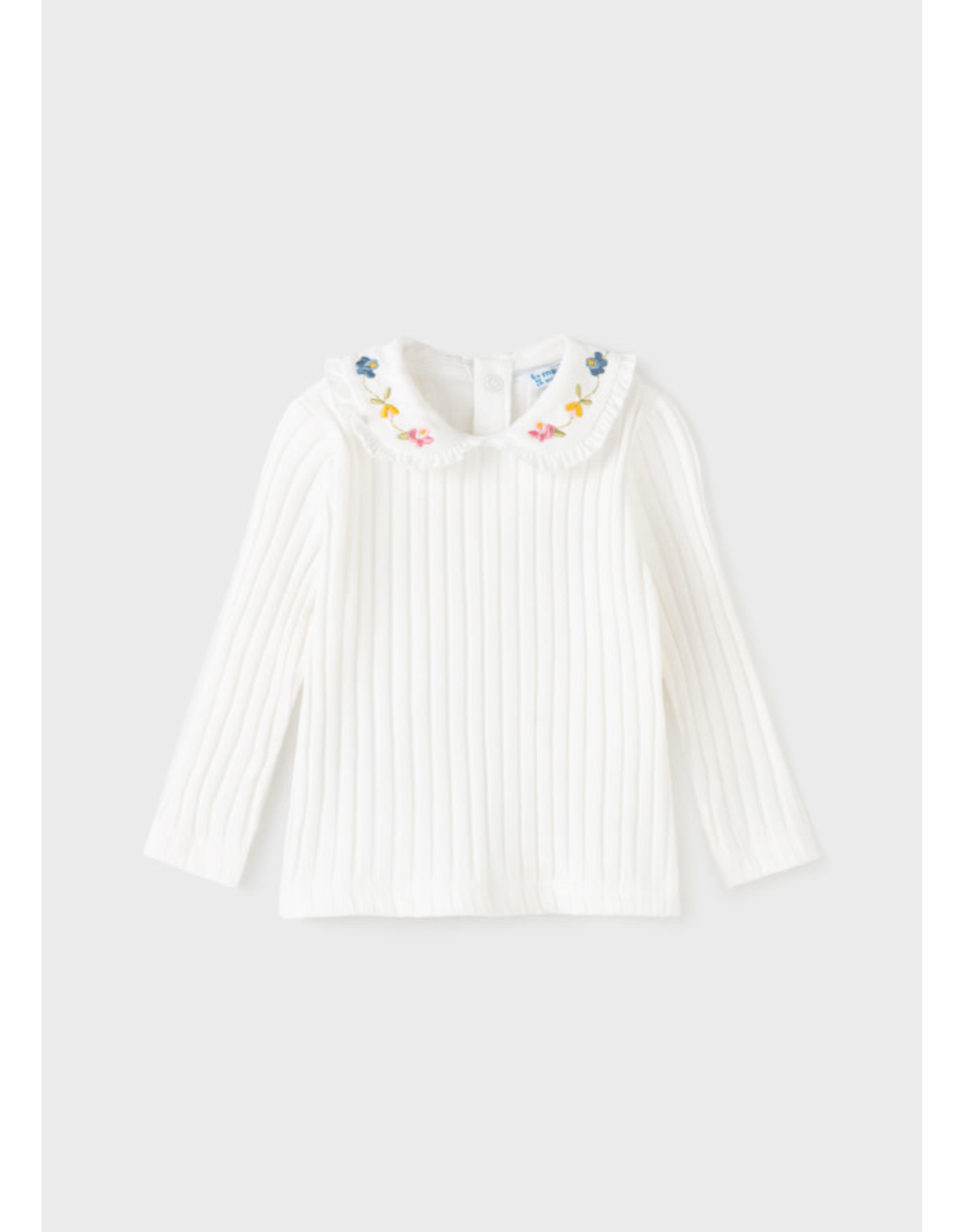 Mayoral Long Sleeve Knit with Floral Collar