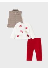 Mayoral Red Shirt/Vest/Leggings Set