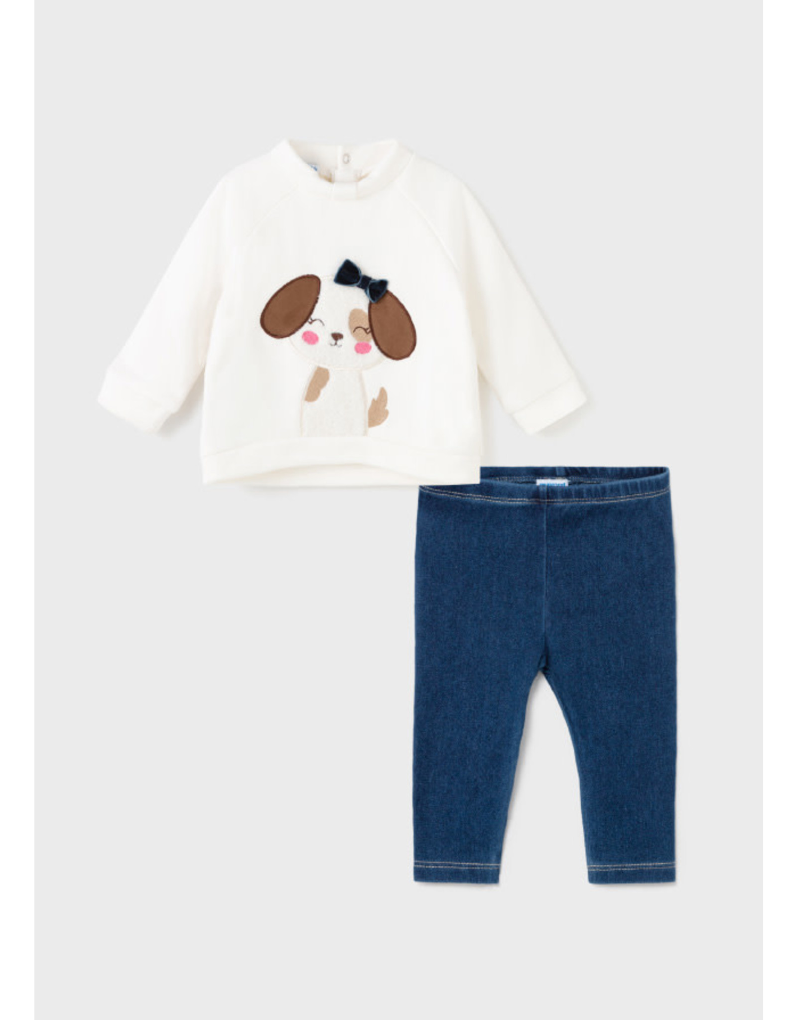 Mayoral Dog Shirt and Natural Denim Leggings set