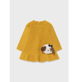 Mayoral Mustard Shearling Dress w/Handbag