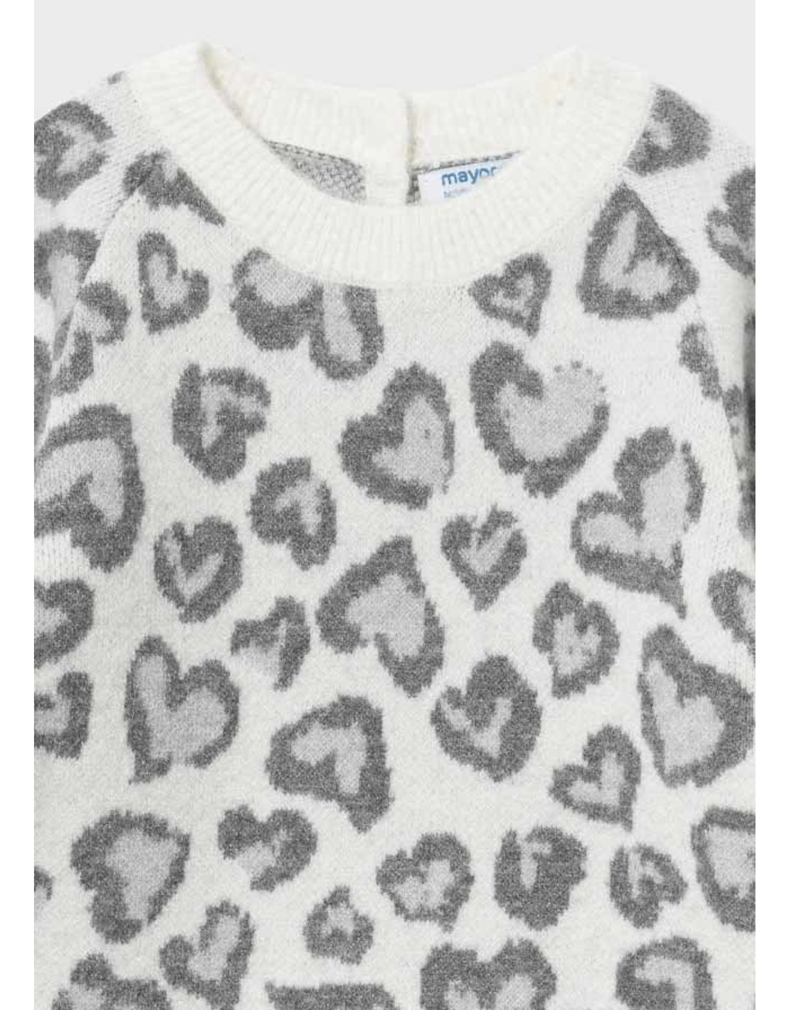 Mayoral Hearts Knit Dress in Natural