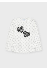 Mayoral White Polka Dot Heart Sequen Shirt
