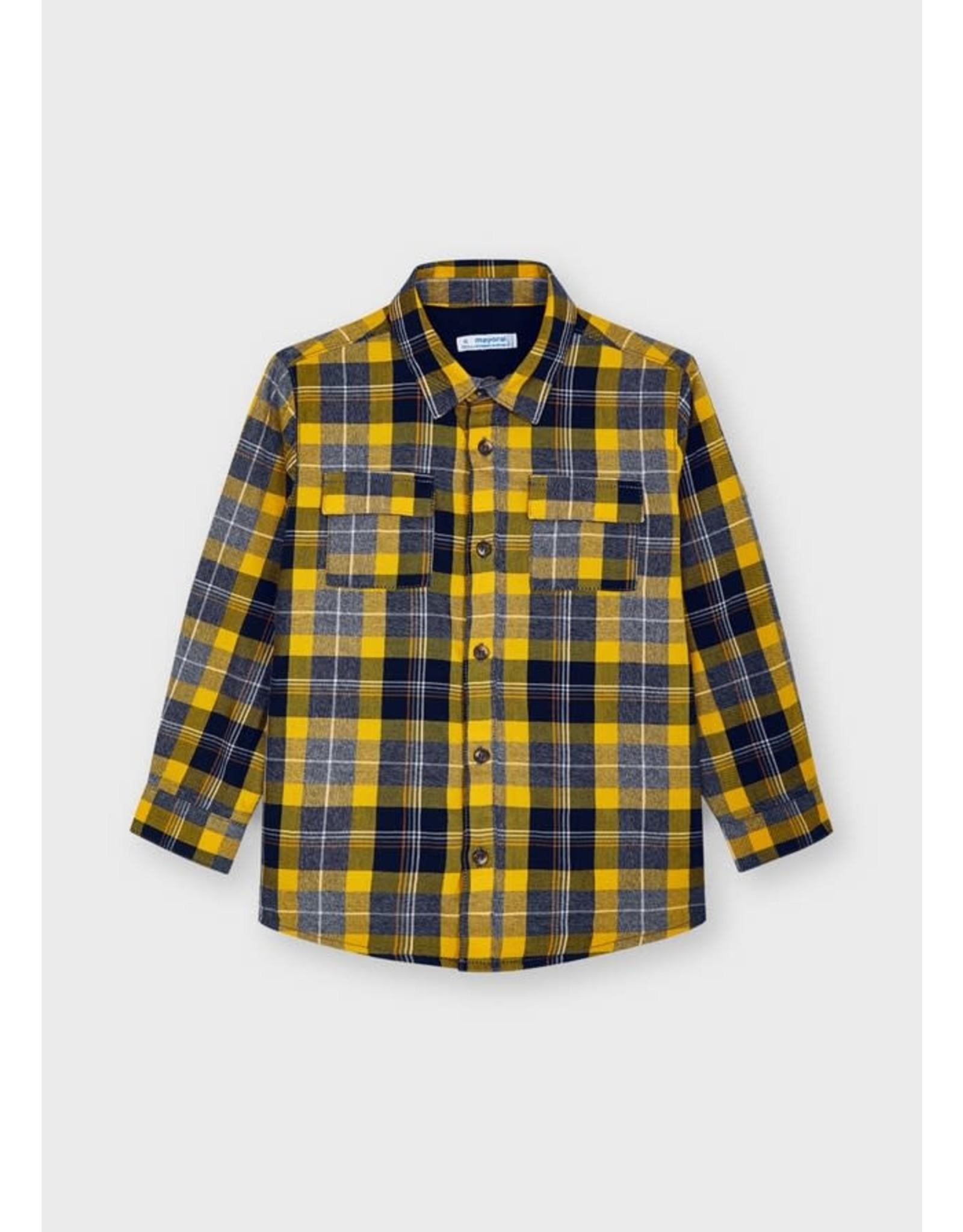 Mayoral Gold Plaid Button Shirt