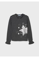 Mayoral Tween Black Stripes Star T-Shirt