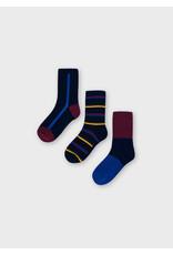 Mayoral Maroon Striped Socks Set (2 pairs)