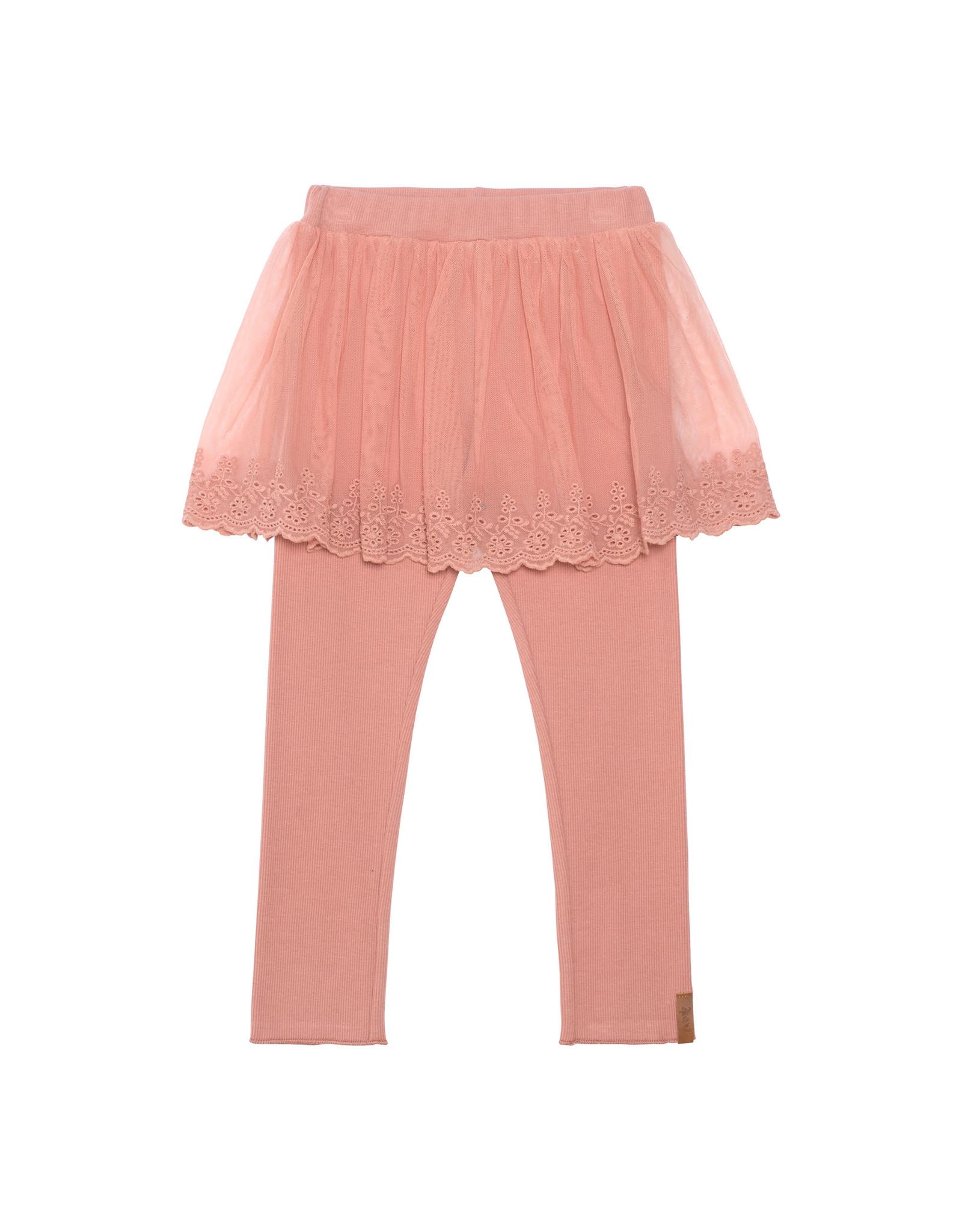 Deux Par Deux Legging with Lace Skirt - Misty Rose