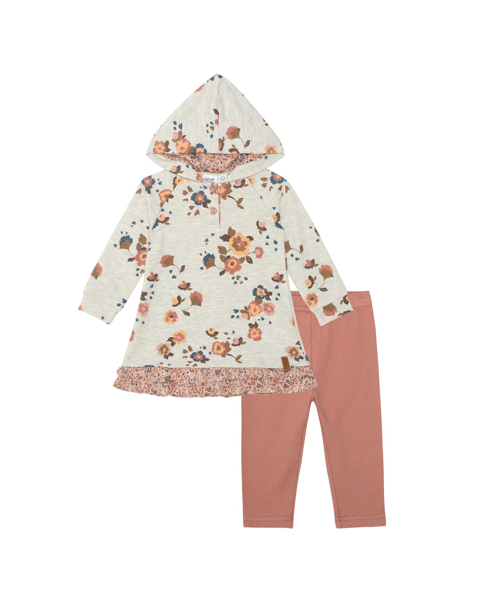 Deux Par Deux French Terry Hooded Dress and Leggings - Fleurs