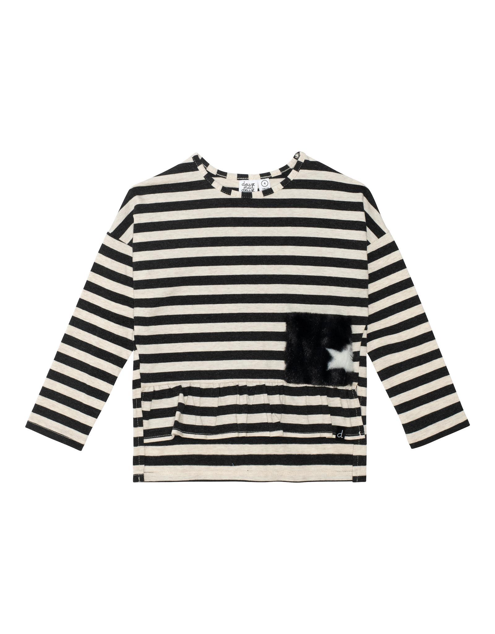 Deux Par Deux Stripe Jersey Top - Black/White