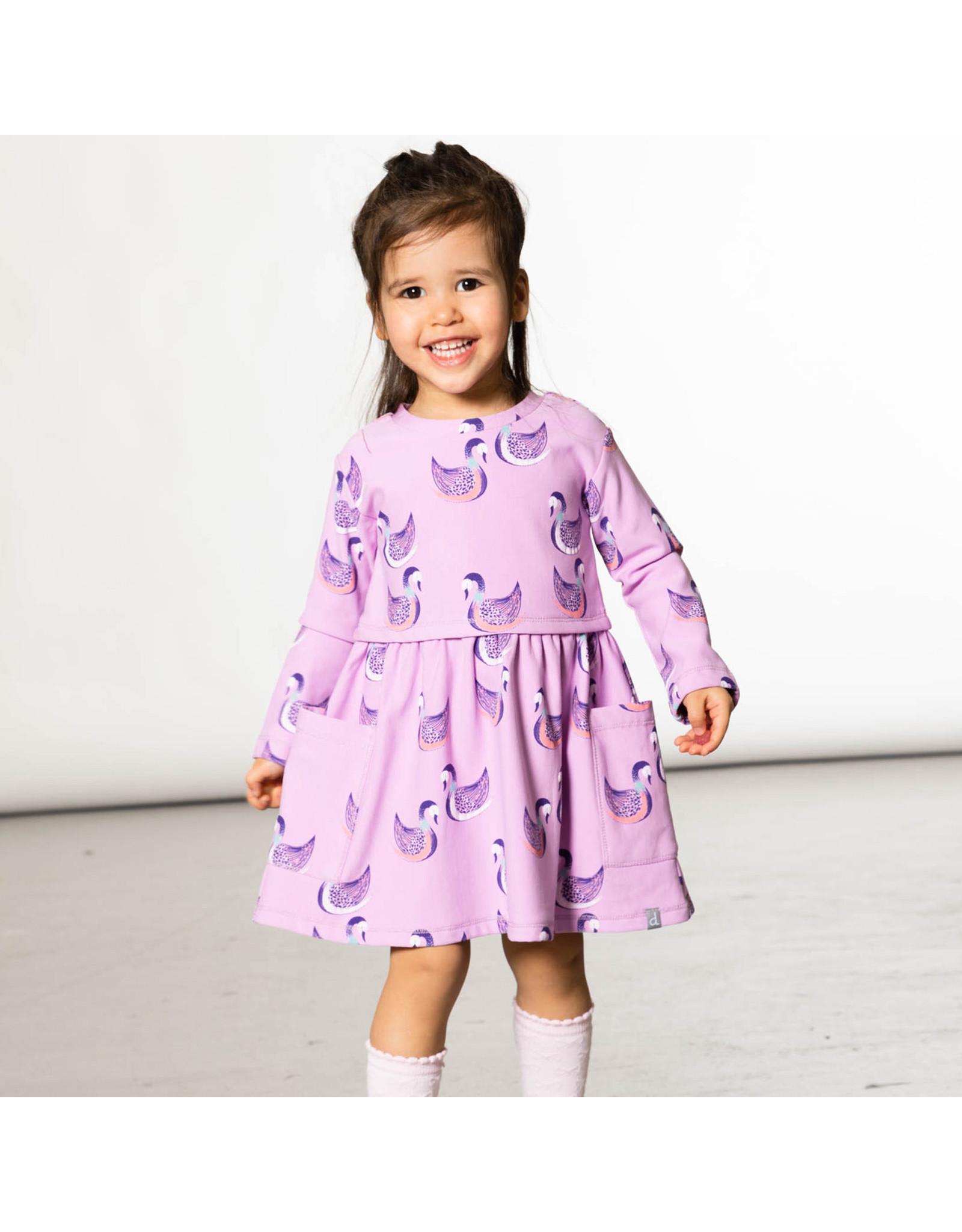Deux Par Deux Cygnes Printed Dress with Pocket