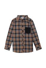 Deux Par Deux Plaid Navy Shirt with Pocket