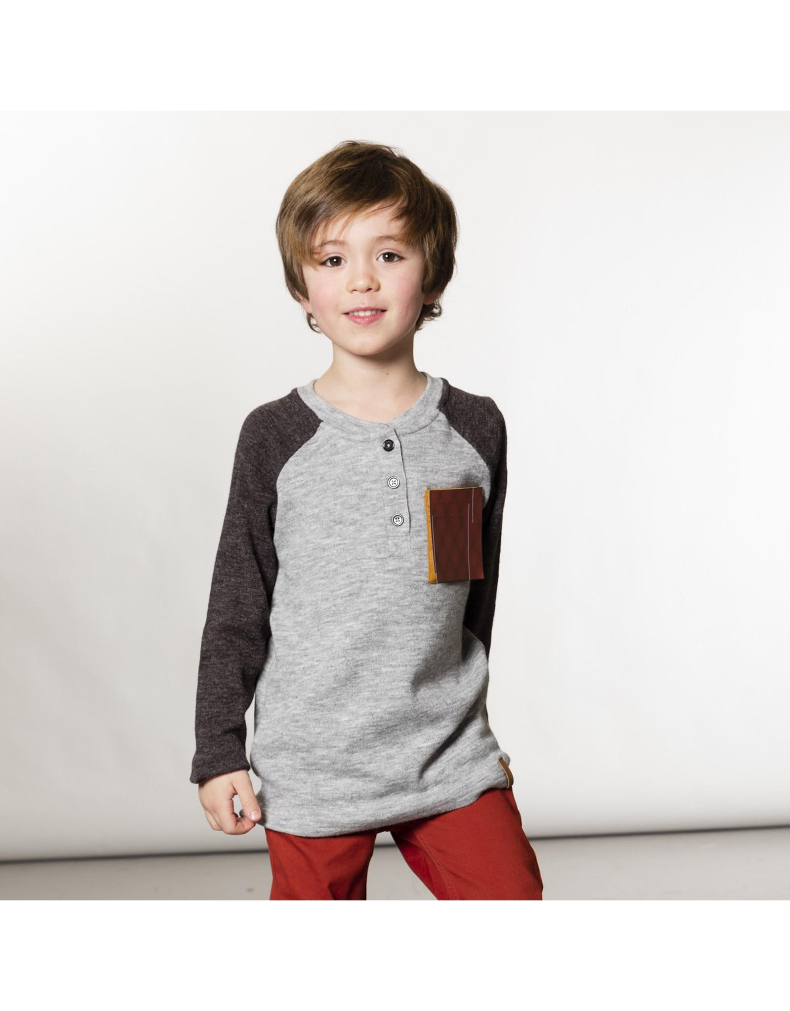 Deux Par Deux Grey Raglan T-Shirt with Pocket