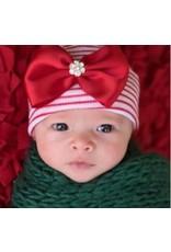 ilybean Nursery Beanie - Red Stripe with Red Bow