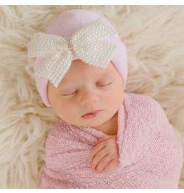 ilybean Nursery Beanie - Lacey Pearl Bow