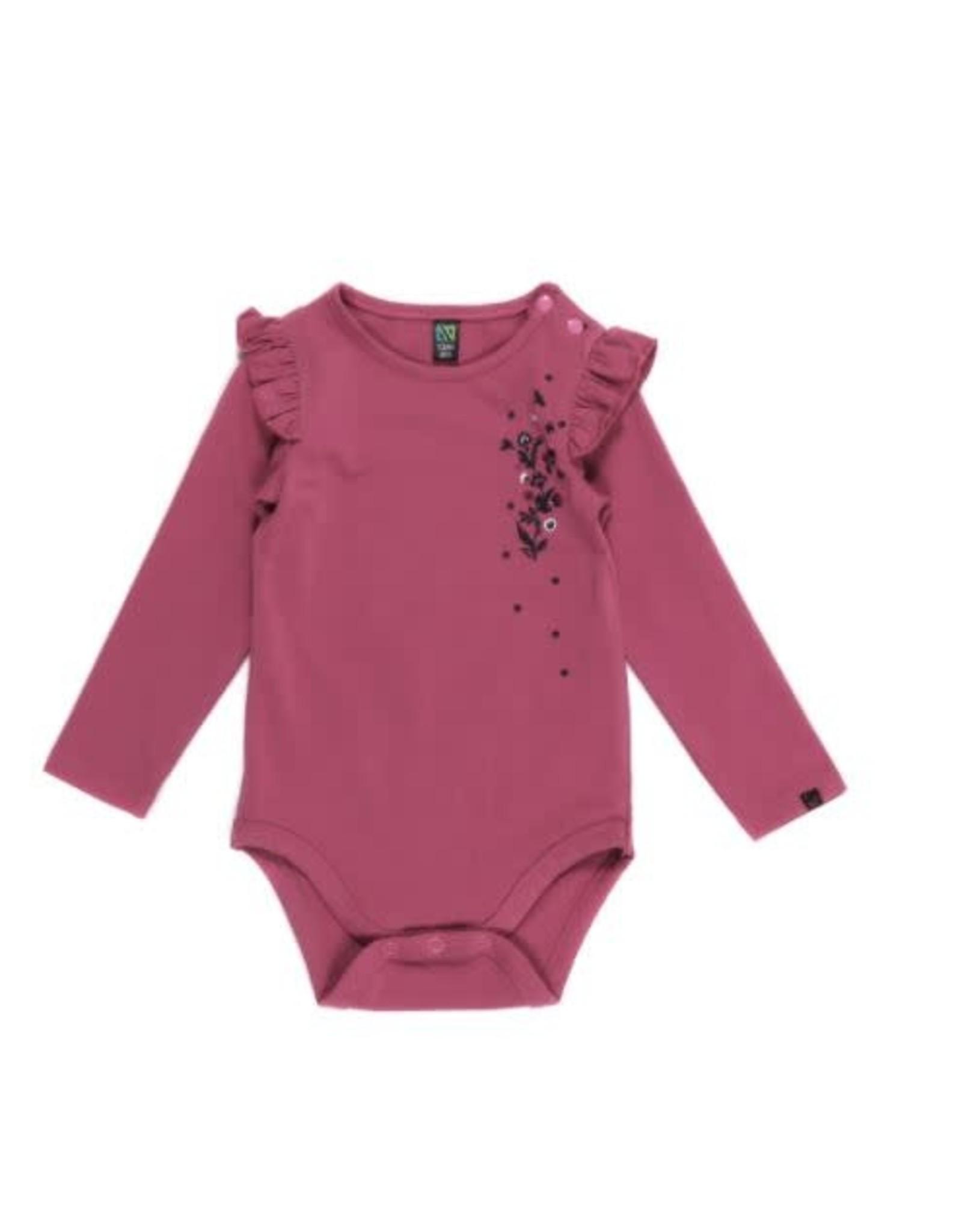 Noruk Pink Rose Bodysuit with Ruffle