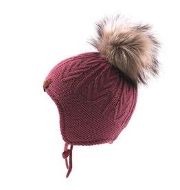 Noruk Pink Knit Hat with Fur Pom