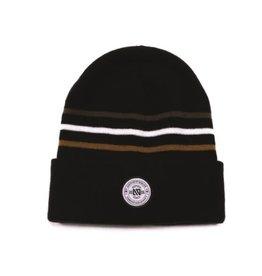 Noruk Black Knit Hat w/Stripes