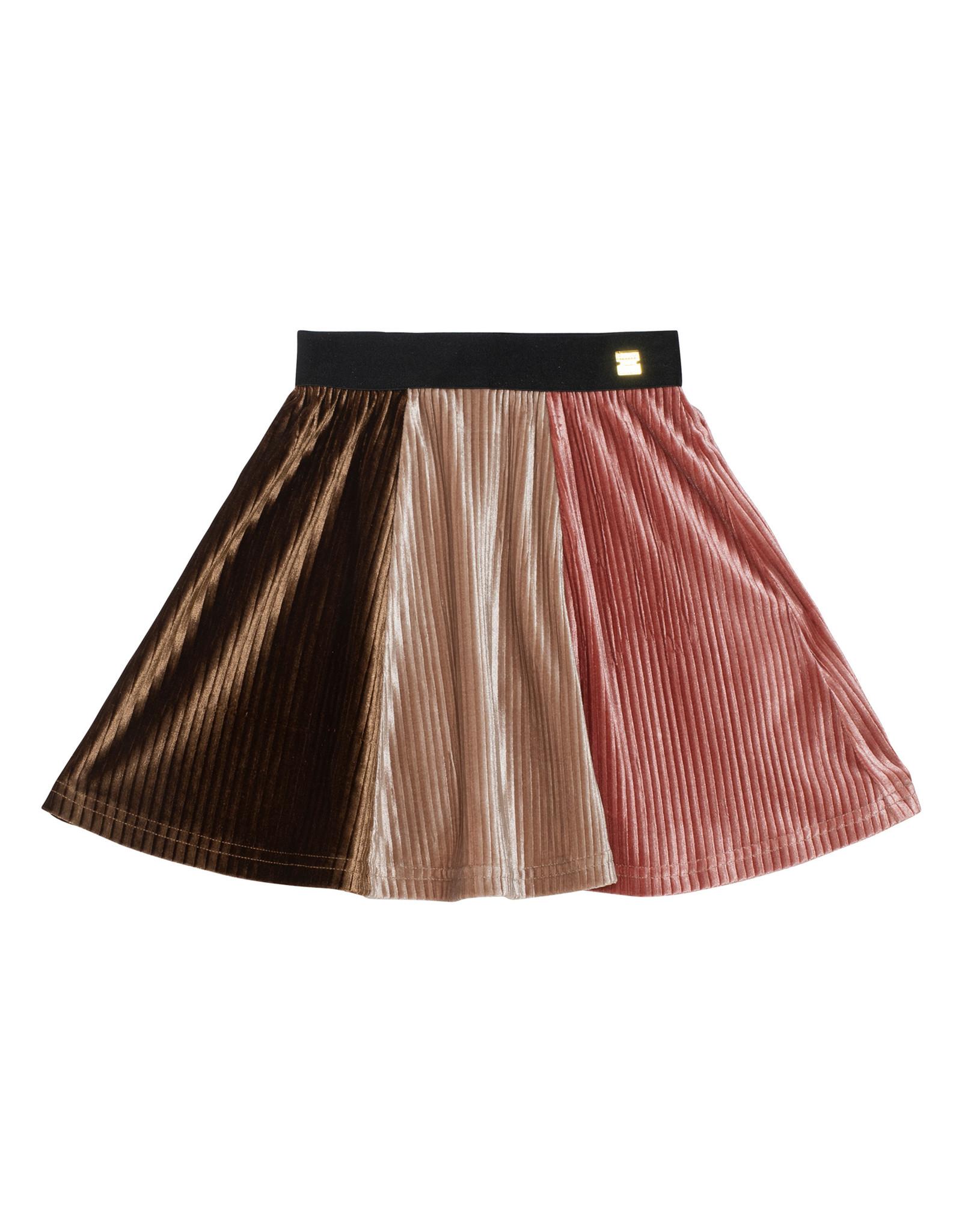 Deux Par Deux Tricolor Pleated Skirt