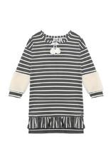 Deux Par Deux Grey Striped Dress w/Pompon & Sherpa Detail