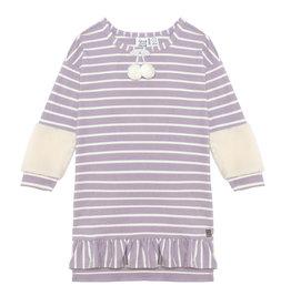 Deux Par Deux Lilac Striped Dress w/Pompon & Sherpa Detail