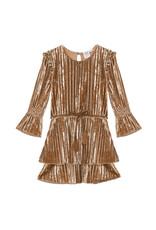 Deux Par Deux Golden Crinkle Velvet Dress w/Belt