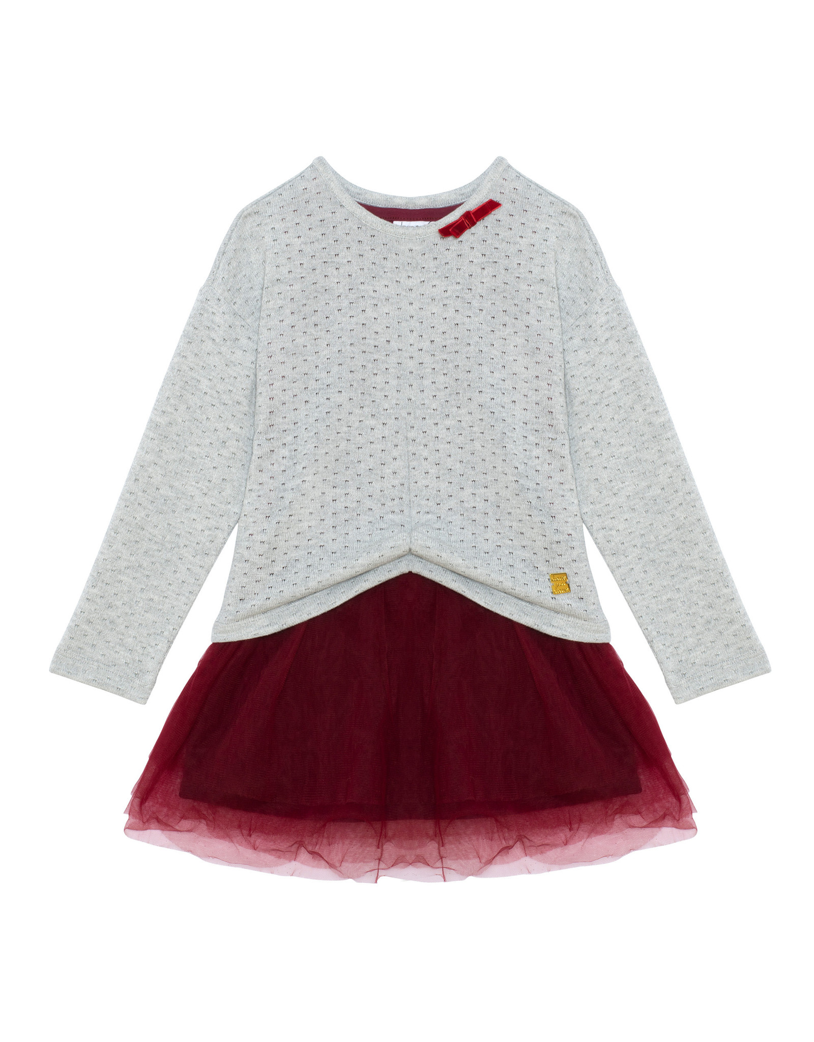 Deux Par Deux Grey 2 in 1 Holiday Dress w/Sweater