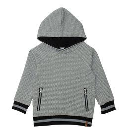 Deux Par Deux Grey Quilted Hooded Top
