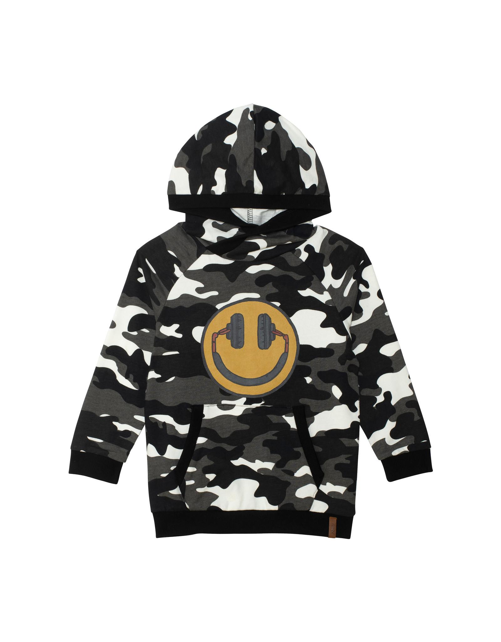 Deux Par Deux Camo Hooded Sweatshirt with Smile Logo
