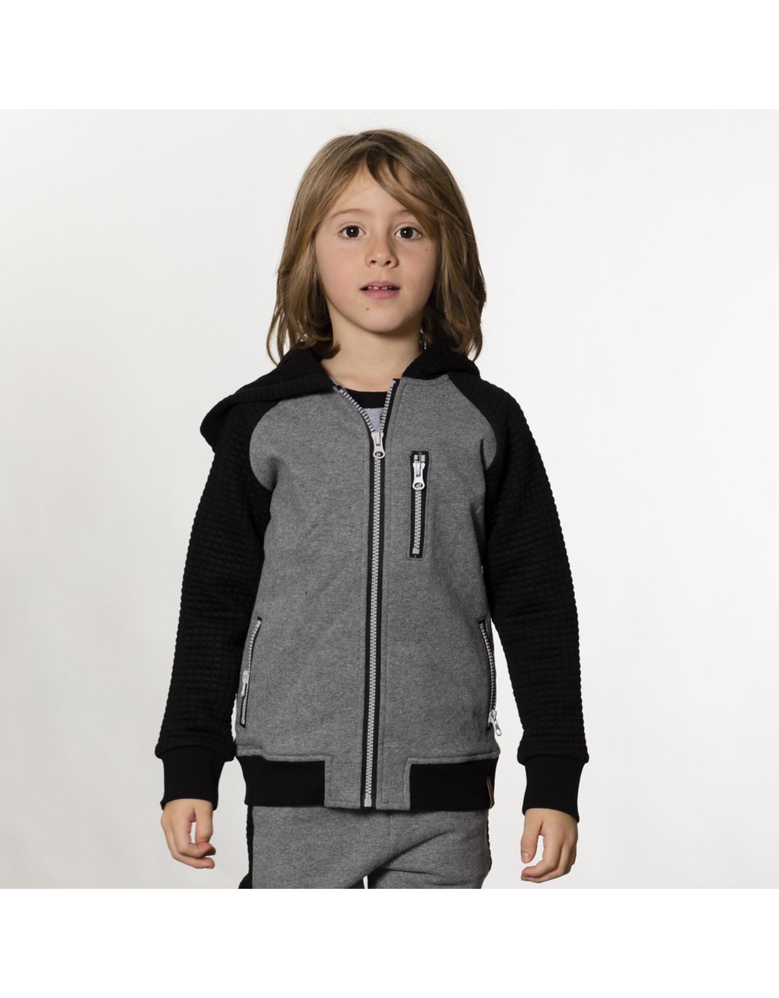Deux Par Deux Dark Grey Hooded Fleece Zip Up w/Quilted Sleeve