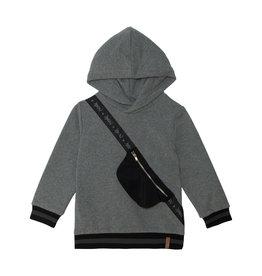 Deux Par Deux Dark Grey Hooded Fleece Top w/Decorative Pouch