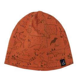 Deux Par Deux Orange Fox Printed Hat