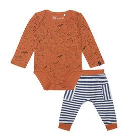 Deux Par Deux Orange Fox Top & Stripe Pant Set