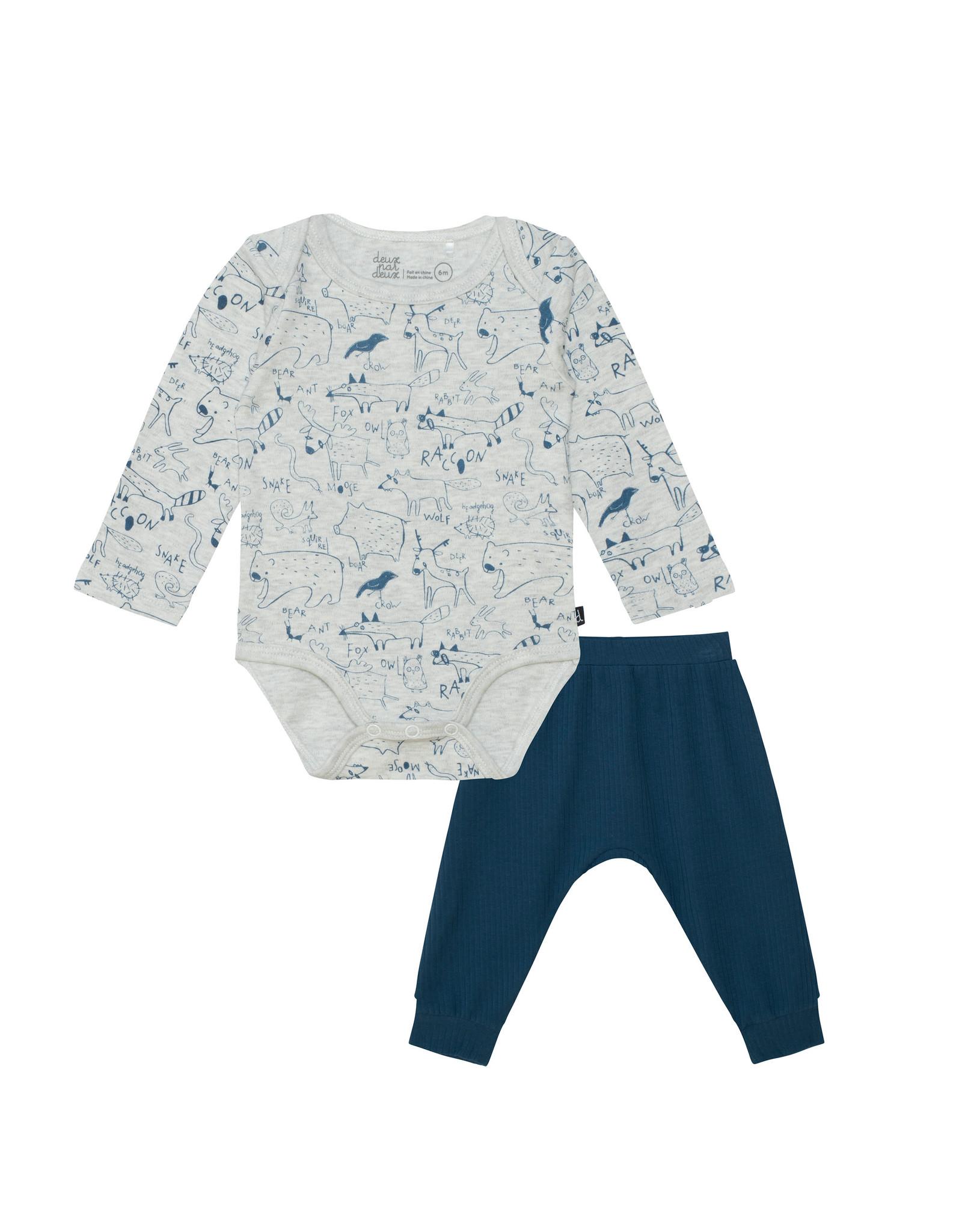 Deux Par Deux Blue Fox Bodysuit & Pant Set
