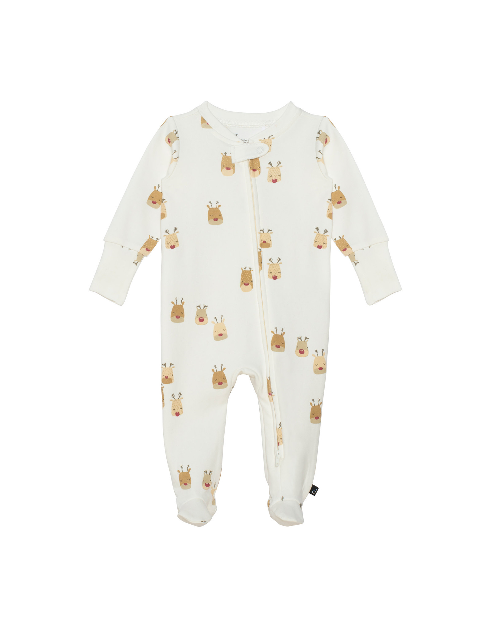 Deux Par Deux Reindeer Print Footed Pajama