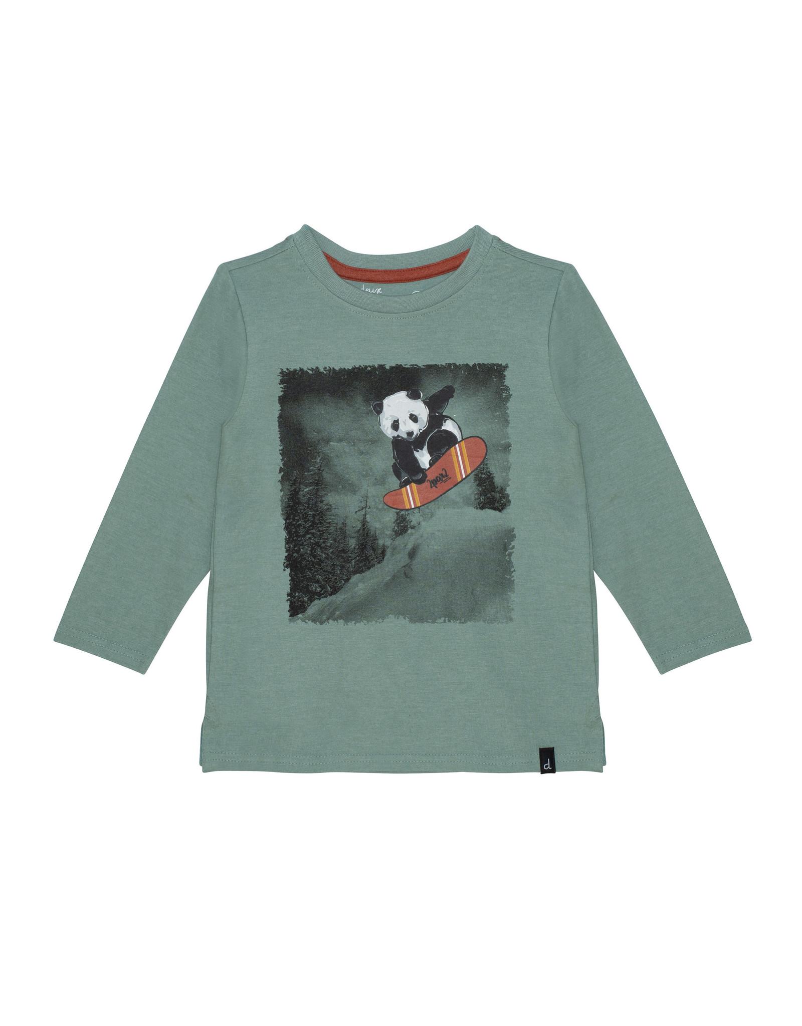 Deux Par Deux Green Snowboarding Panda Shirt