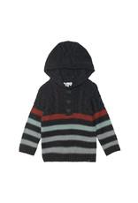 Deux Par Deux Grey Hooded Knit Stripe Sweater
