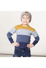 Deux Par Deux Block Blue and Gold Knit Sweater