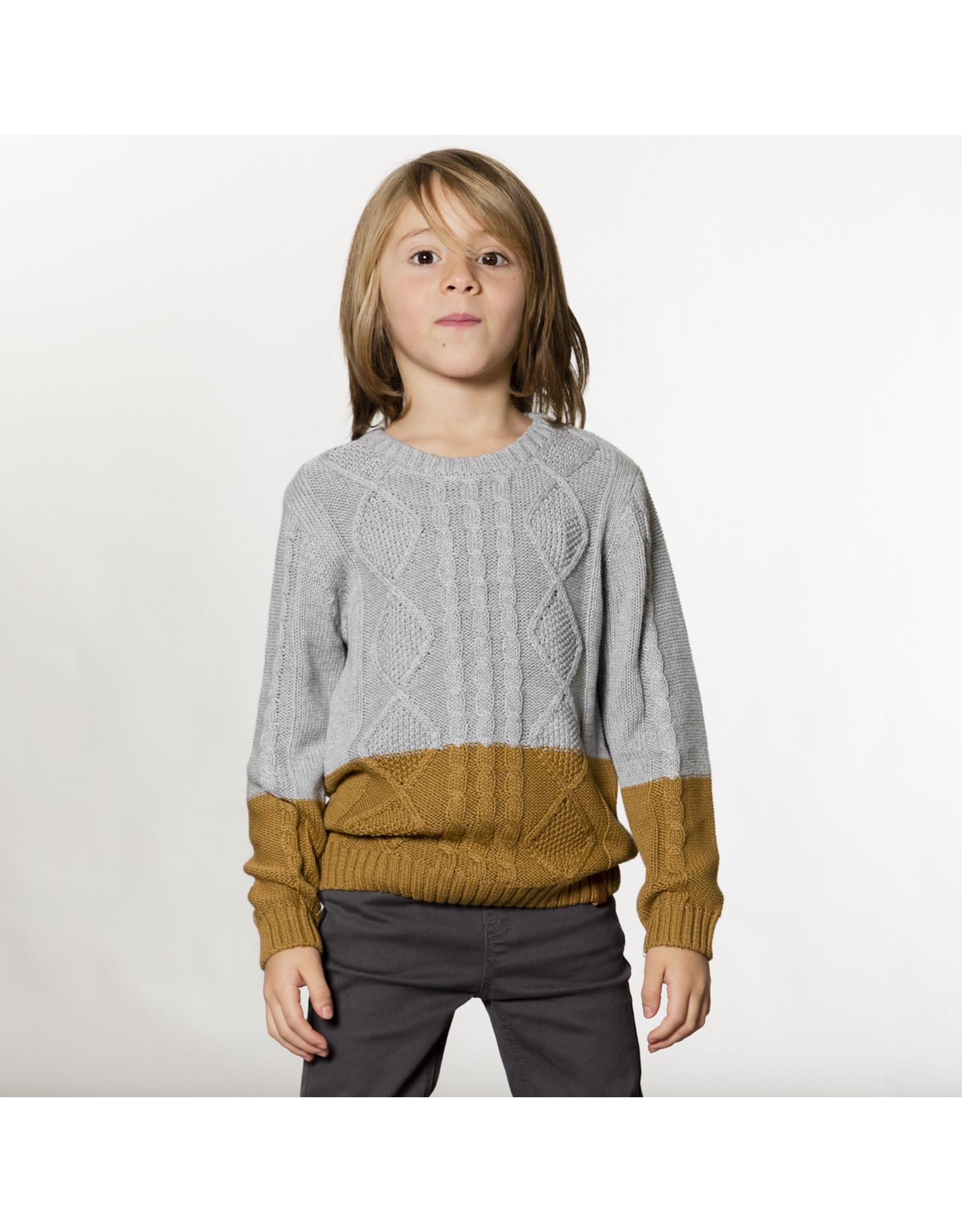 Deux Par Deux Grey and Gold Knit Cable Sweater