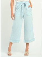 Wide Leg Pant with Belt and Frayed Hem
