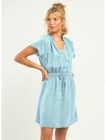 Dex Frayed Hem Elastic Waist Dress