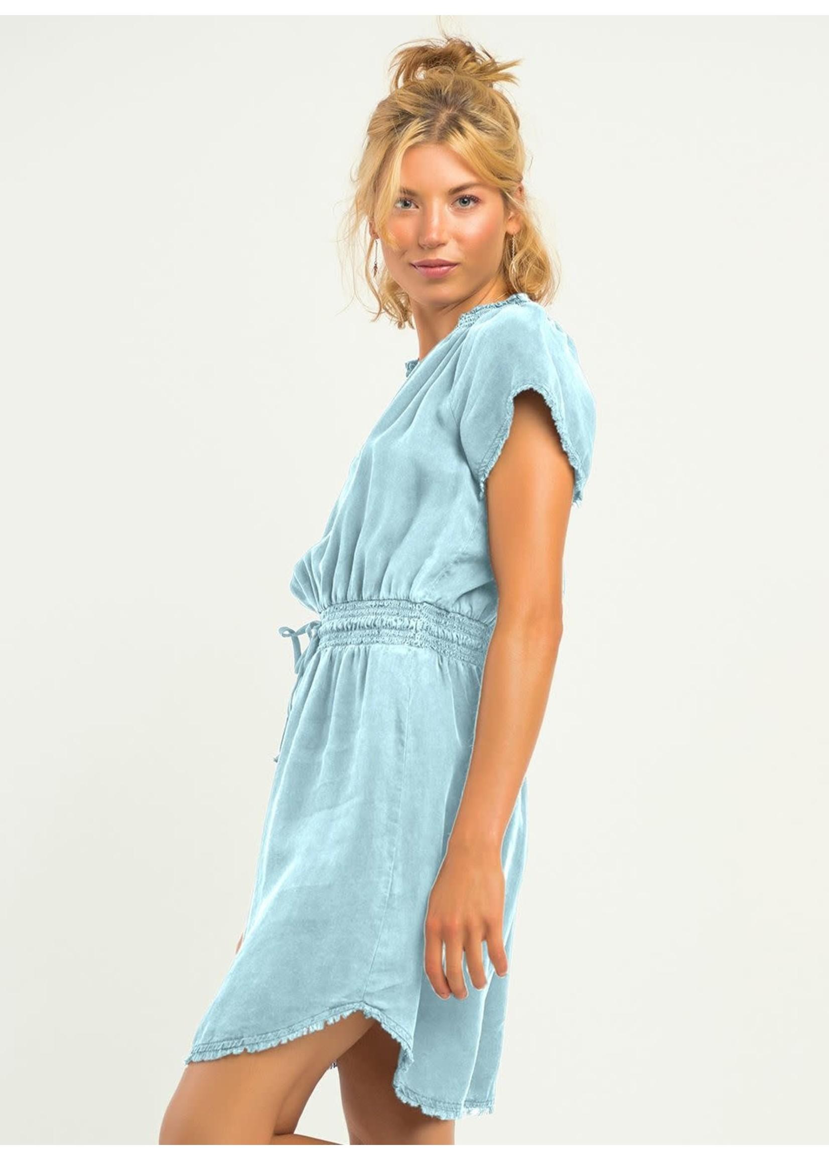Frayed Hem Elastic Waist Dress