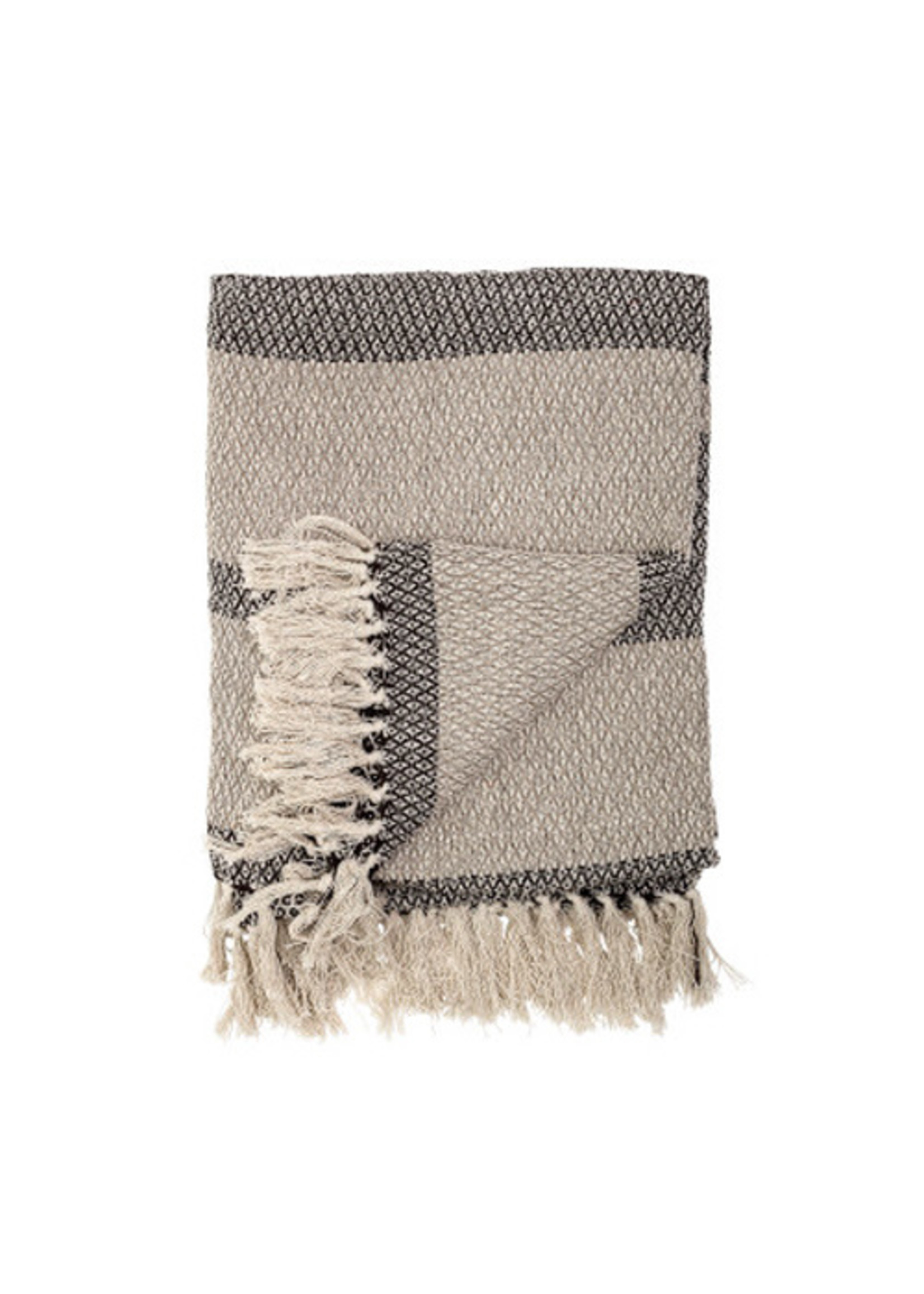 Recycled Cotton Blend Knit Throw with Stripes and Fringe